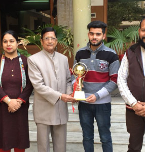 Rishabh of B.Com II of K.L.S.D.College bagged first prize in Declamation Contest